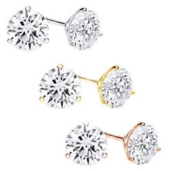 1 1/2 Carat Round Diamond Martini-glass 3-prong Stud Earrings In 14k Solid Gold