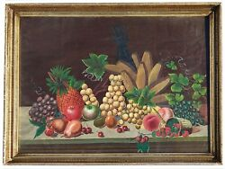 1830-50and039s American Folk Art Still Life Of Fruit In The Style Of Henry Church