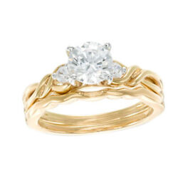 1-1/10 Ct Simulated Three Stone Crossover Bridal Set In 14k Yellow Gold