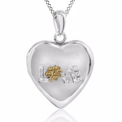 Natural Diamond Accent Love Heart Locket In Sterling Silver And 10k Gold Plate