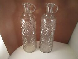 Vintage Pair Of Clear Glass Whiskey Bottle Carafe Decanters Hobstar Diamond Fan