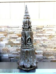 Antique 18-19 C Asian Chinese Thailand Pagoda Pottery Ceramic Statue W/4 Buddhas