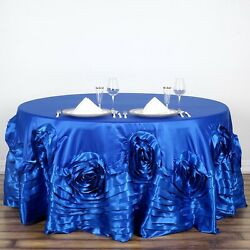 Royal Blue 120 Round Large Raised Roses Lamour Satin Tablecloth Decorations