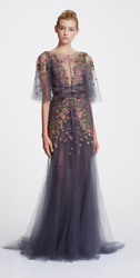 NWT Designer Couture Sleeveless Illusion V Neck Tulle Gown w Capelet