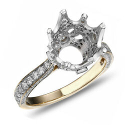Round Semi Mount Ring Settings And .73ct D/ Vvs1 18k Yellow Gold Engagement Ring