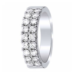 1 Ct Round Cut Simulated Diamond Double Row Eternity Band Ring Sterling Silver