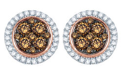 0.5 Ct Champagne And Natural Diamond Frame Cluster Stud Earrings In 10k Rose Gold