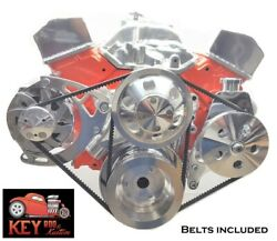Small Block Chevy Polished Aluminum V-belt Front Drive System Pulley Belts 350