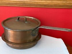 Antique Copper Dovetailed Pan Pot W/ Handle And Lid For Wood Cook Stove Star Mark