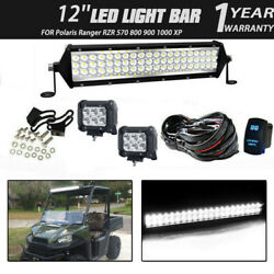 12inch Led Light Bar+wiring Combo Kit For Polaris Ranger Rzr 570 800 900 1000 Xp
