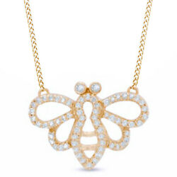 1/6 Ct Natural Diamond Bee Outline Necklace In 10k Gold -igi-