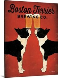 Boston Terrier Brewing Co Stretched Canvas