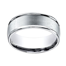 10k White Gold 8mm Comfort Fit Satin Finish Round Edge Carved Band Ring Sz 12