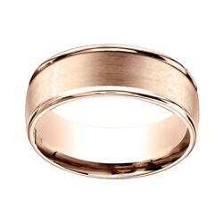 14k Rose Gold 8mm Comfort Fit Satin Finish Round Edge Carved Band Ring Sz 8
