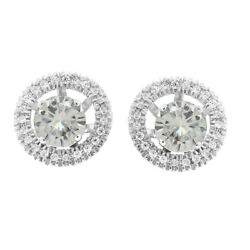 3.25 Ct Round Cut Genuine Moissanite Stud Halo Earrings Jackets 10k White Gold