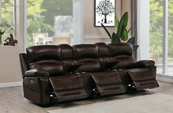 Top Grain Brown Leather Power 3 Recliner Storage Consoles Home Theater Furniture