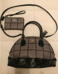 coach glen plaid handbag and wristlet in excellent used condition.