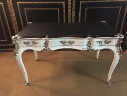 Bureau Plat / Desk White Piano Patent with Silver-Plated Bronze Fittings