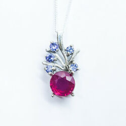 1.6ct Natural Red Ruby 925 Sterling Silver / 9ct 14k 18k Platinum Gold Pendant