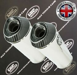 2 X Universal 2 Slip-on Performance Road Legal/race Exhausts Mufflers Silencers