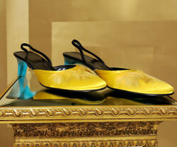 S/s 1999 Vintage Tom Ford For Yellow Crepe Satin Shoes W/ Feathers 8
