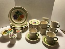 Vintage Set Of Franciscan Earthenware Floral Retro Groovy Flowers 30 Pieces