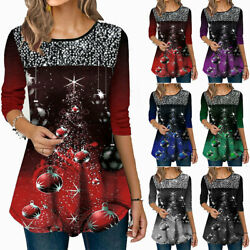 Womens Christmas Xmas Tops Sequin Long Sleeve T-Shirt Blouse Tunic Tee Plus Size