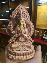 9and039and039 Tibet 4 Arms Guanyin Chenrizig Buddha Bronze Statue Face Painted Filled