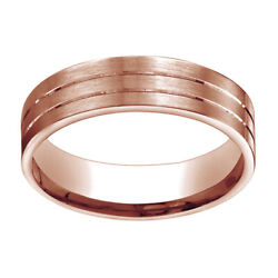 14k Rose Gold 6mm Comfort Fit Satin Parallel Groove Carved Band Ring Sz 13