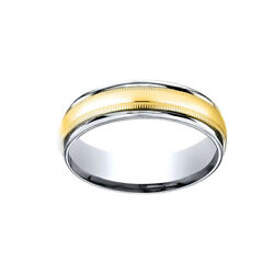 14k Two-toned 6mm Comfort-fit Polish Carved Men's Band Ring W/milgrain Size 9