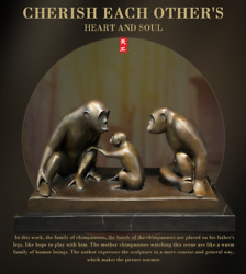 17and039and039 Western Modern Art Deco Sculpture Gorilla Family 3 Monkey Bronze Statue