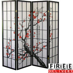 Room Divider 4 Panel Screen Wood Folding Asian Oriental Blossom Privacy Decors