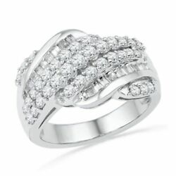 1 Ct Baguette And Round Real Diamond Rolling Wave Band In 10k White Gold