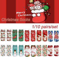 10 styles Merry Christmas Deer Snowman Printed Ankle Socks Party Child Gift