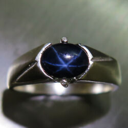 Natural Blue Star Sapphire 925 Silver /9ct 14k 18k Gold Unisex Engagement Ring