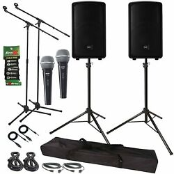 Rcf Hd10-a-mk4 Active 800w 10 Dj Pa Speakers + Stands + Microphones