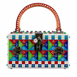 Dolce And Gabbana 8.000 Unikat Hand Painted Wood Bag Dolce Box Carretto Red 08291