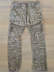Denim House Tan Splatter Camouflage Distressed Ripped Corrugated Zippers 34x33