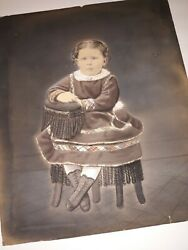 Antique Cabinet Photo Child Sitting In Chair Portrait Girl 2 Sided Color 12x10