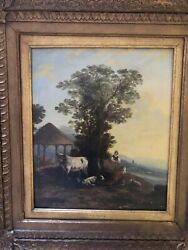 Thomas Sidney Cooper Pastoral Scene Oil Painting On Board.