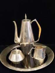Vintage Mid Century Reed And Barton Diamond Pattern Coffee Set With Lucite Tray