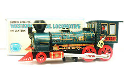 Battery Operated Mystery Action Western Special Locomotive W/lantern Tin Train