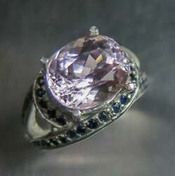 6ct Natural Pink Kunzite And Pink Sapphires 925 Silver Ring All Sizes