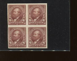 Scott 256p4 Garfield Plate Proof On Card Block Of 4 Stamps Stock 256-p1