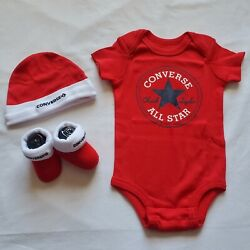 3 Piece Converse Gift Set Size 0-6 Months Baby Shower Booties Baby Boys B8