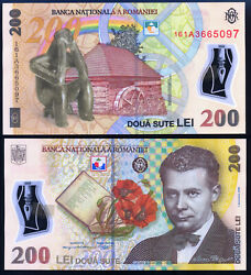 Romania-200 Lei 2006 16 Unc - Polymer - Serial Numbers -1a - Rare