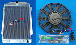 56mm Aluminum Radiator + Fan For Chevy Car Street Rod Auto 1940-1941 40 41 At/mt