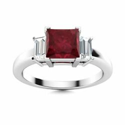 Three Stone Natural Princess Cut Ruby And Baguette Vs Diamond 14k White Gold Ring