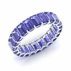 Certified Natural 6.25 Ct Tanzanite Eternity Band 14k White Gold Ring Size 7
