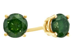 1 Ct Green Diamond Solitaire Stud Earrings In 14k Yellow Gold